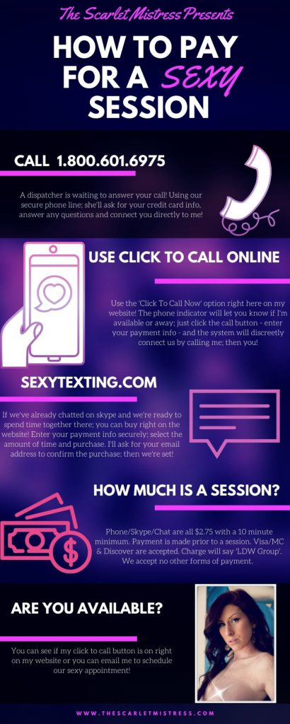 How to pay for a sexy session with Scarlet. 1.800.601.6975